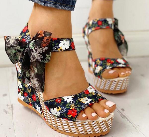 Women Summer Wedge Sandals Female Floral Bowknot Platform High Heel  Fashion Bohemian Ankle Strap Open Toe Ladies Shoes 4