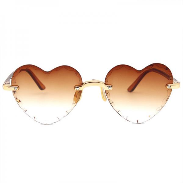 Women Rimless Sunglasses Fashion Heart-shaped Sun Glasses for Wome Vintage Cute 90s Gradient Shades Eyeglasses  UV400 5