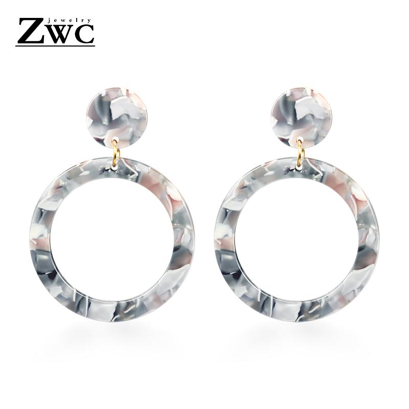 Vintage Korean Big Earrings for Women Female Fashion Gold Cubic zirconia Drop Dangle Earring Geometric earings Jewelry 2019 16
