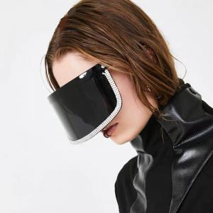 Vintage Extra Oversize Shield Visor Sunglasses Women Flat Top Mask Mirrored Shades Men Windproof Eyewear Gafas de sol