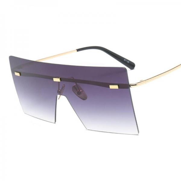Oversize Brown Sunglasses 2020 Women Retro Vintage Sunglasses Luxury Brand Rimless Eye wear Big Shades 2