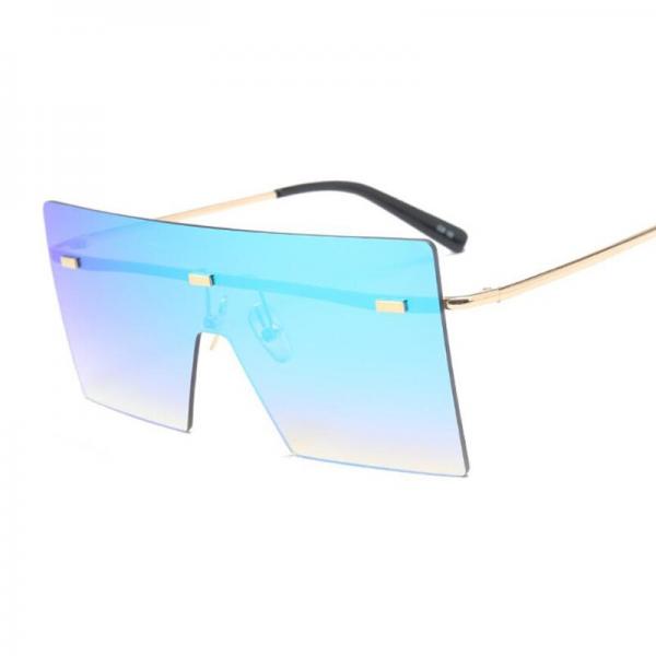 Oversize Brown Sunglasses 2020 Women Retro Vintage Sunglasses Luxury Brand Rimless Eye wear Big Shades 4