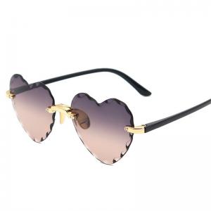 Women Rimless Sunglasses Fashion Heart-shaped Sun Glasses for Wome Vintage Cute 90s Gradient Shades Eyeglasses  UV400 3