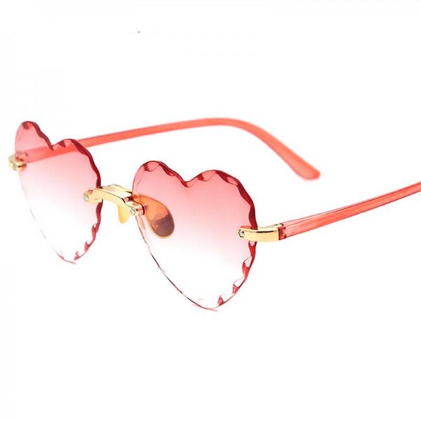 Women Rimless Sunglasses Fashion Heart-shaped Sun Glasses for Wome Vintage Cute 90s Gradient Shades Eyeglasses  UV400 2