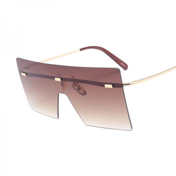 Oversize Brown Sunglasses 2020 Women Retro Vintage Sunglasses Luxury Brand Rimless Eye wear Big Shades 3