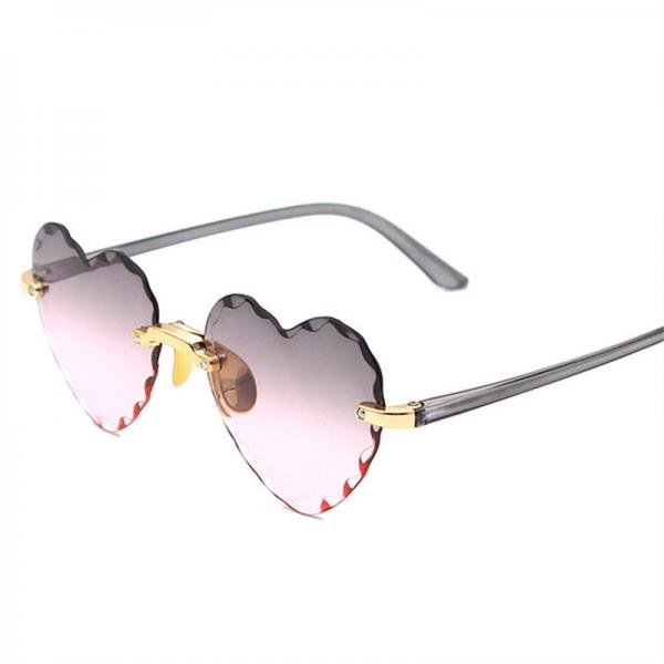 Women Rimless Sunglasses Fashion Heart-shaped Sun Glasses for Wome Vintage Cute 90s Gradient Shades Eyeglasses  UV400 4