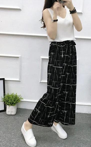 2020 Fashionable Wide Leg High Waist Pants 3