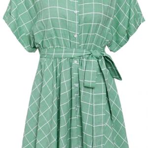 2020 Elegant plaid sashes women dress Short sleeve A-line casualwear 4