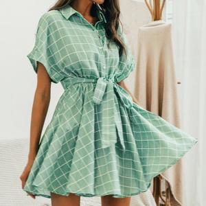 2020 Elegant plaid sashes women dress Short sleeve A-line casualwear
