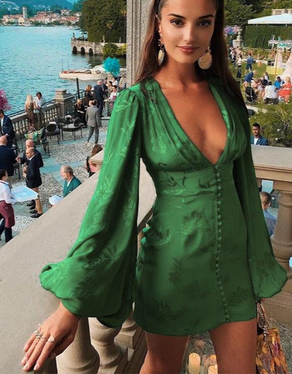2020 Alluring V-Nexk Party Dress with Lantern Sleeve
