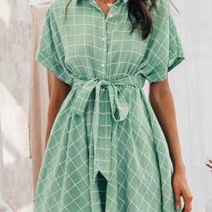 2020 Elegant plaid sashes women dress Short sleeve A-line casualwear 2