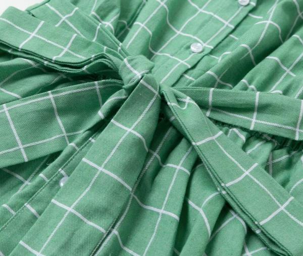 2020 Elegant plaid sashes women dress Short sleeve A-line casualwear 5
