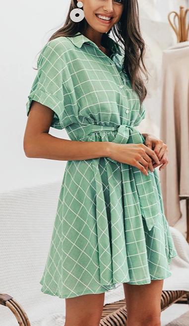 2020 Elegant plaid sashes women dress Short sleeve A-line casualwear 3